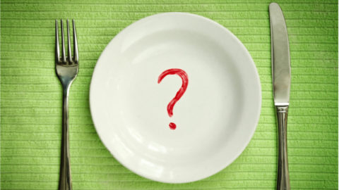 A plate with a question mark representing caloric restriction