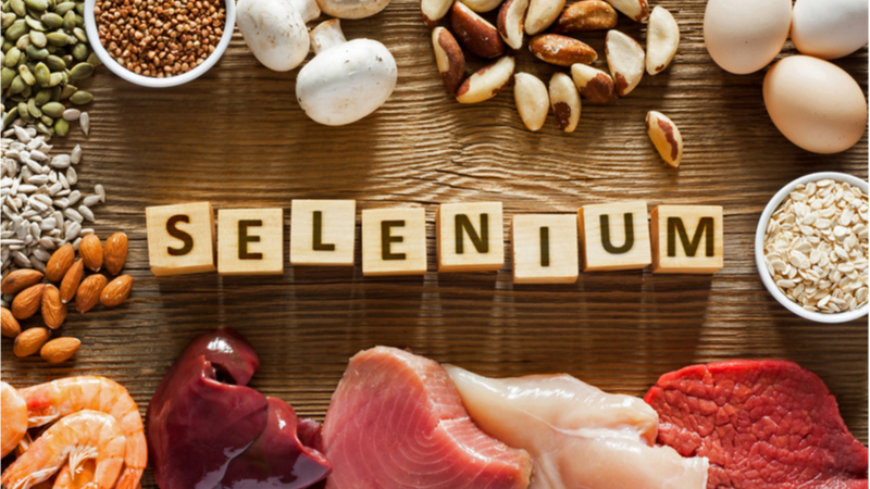 Many foods contain selenium such as nuts, eggs, mushrooms, and some meats.